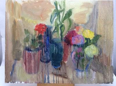 Lot 17 - Annelise Firth (b.1961) oil on canvas - Roses and Red Geranium, signed and dated verso, 71cm x 91cm