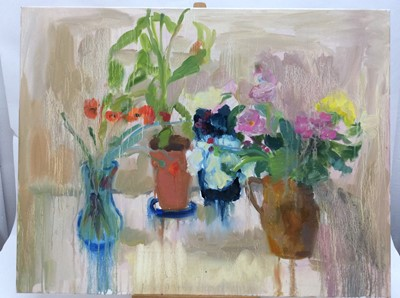 Lot 18 - Annelise Firth (b.1961) oil on canvas - Suffolk Poppies, signed and dated verso, 71cm x 91cm