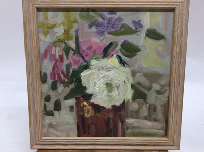 Lot 19 - Annelise Firth (b.1961) oil on board - White Rose, signed and dated verso, framed, 30cm x 30cm, overall framed size 35cm x 35cm