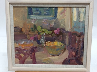 Lot 20 - Annelise Firth (b.1961) oil on board - Interior scene, signed and dated verso, framed, 24.5cm x 29.5cm, overall framed size 30.5cm x 35.5cm