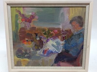 Lot 21 - Annelise Firth (b.1961) oil on board - Man reading newspaper at table, signed and dated verso, framed, 29.5cm x 34.5cm, overall framed size 35.5cm x 40.5cm