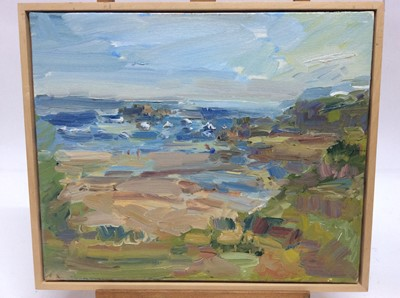 Lot 22 - Annelise Firth (b.1961) oil on canvas - Sables d'Or les Pins, signed and dated verso, framed, 38cm x 46cm, overall framed size 41cm x 48.5cm