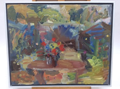 Lot 23 - Annelise Firth (b.1961) oil on canvas - Garden table with vase of flowers , signed and dated verso, framed, 41cm x 51cm, overall framed size 43.5cm x 53.5cm