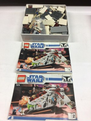 Lot 5 - Lego 8097 Slave 1, 10174 AT ST Walkers Collectors, 7676 Republic Attack Gunship with some mini figs, with instructions (except 8097 available on line), Not Boxed