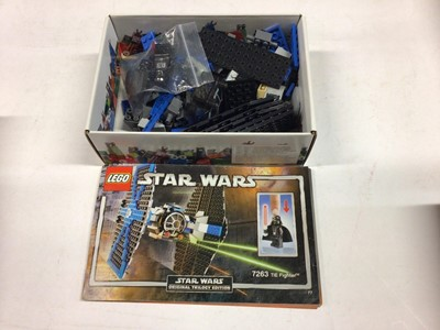 Lot 7 - Lego 7661 Jedi Starfighter, 7671 AT AP Walker, 7263 TIE Fighter with mini figs, 8017 Darth Vader TIE Fighter Ring with minifigs, all including instructions (except 7263 available on line), Not boxe...