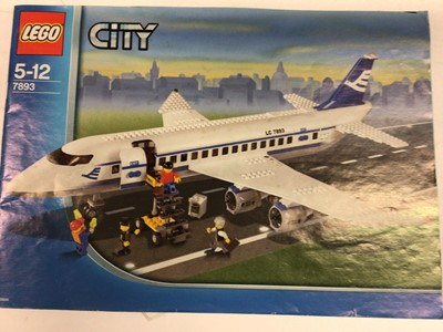Lot 10 - Lego 7249 City Crane (Large), 7685 City Bulldozer, 7893 City Airplane (Large), with minifigs and instructions, Not Boxed
