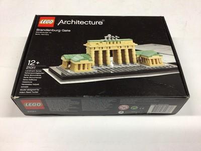 Lot 25 - Lego Architecture 21011 Brandenburg Gate, 21036 Arc de Triomphe, 21024 Louvre, 21019 The Eiffel Tower, 21026 Berlin, with instructions, Boxed