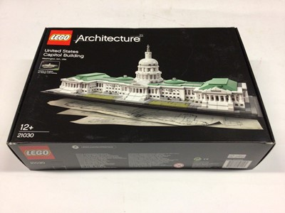 Lot 26 - Lego Architecture 21002 Empire State Building, 21022 Lincoln Memorial, 21041 Las Vegas, 21009 Farnsworth House, 21006 The White House, 21030 United States Capitol Building, with instructions, Boxed