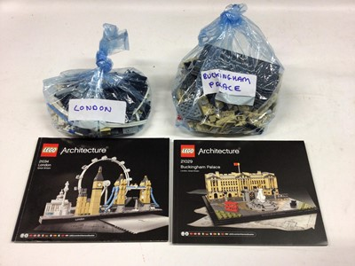 Lot 31 - Lego Architecture 21013 Big Ben, 21012 Sydney Opera House, 21032 Sydney with instructions available on line, 21034 London, 21029 Buckingham Palace, with instructions, all loose