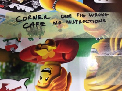 Lot 43 - Lego Building 10182 Corner Cafe, with mini figs, instructions available on line, No box