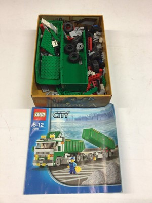 Lot 65 - Lego 8292 Cherry Picker & Tipper, 8052 Skip Lorry, 8109 Flat Bed Lorry, 7998 Lorry & Trailer, all with instructions, no boxes