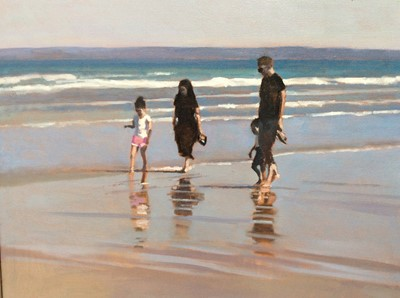 Lot 25 - Peter Z Phillips oil on canvas- family walking along the foreshore on a sunny day, signed and dated '20, in silvered frame, 39cm x 49cm