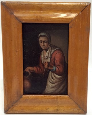 Lot 26 - 19th century Dutch School oil on panel- Serving maid with jug of ale, in maple frame, 14cm x 10cm