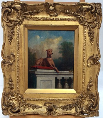 Lot 27 - 19th century English School oil on canvas- greyhound seated on cushion on a balustrade with gardens beyond, in gilt frame, 25cm x 19cm