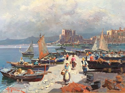 Lot 28 - Antonio Gravina (b. 1934) oil on canvas- On the beach, Sorrento, signed and inscribed verso, framed, 40cm x 50cm