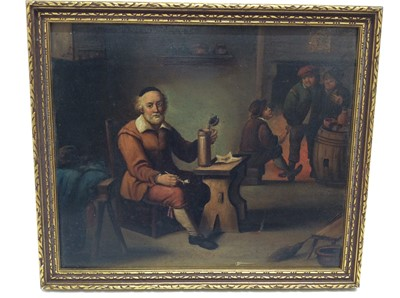 Lot 29 - 19th century Dutch School oil on metal panel- Seated man with his pipe and beer at an inn, framed, 17cm x 20cm