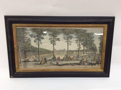 Lot 64 - 18th century John Tinney hand coloured engraving- A View of the great Fish-pond of Fontainebleau & of the Court of Fountains at a Distance and one other engraving- Architecture, both framed