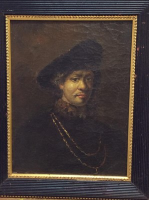 Lot 94 - 19th century After Rembrandt oil on canvas laid on board- portrait of a gentleman, framed, 24cm x 19cm