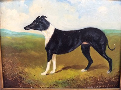 Lot 95 - Henry Percy oil on board- greyhound, signed, in gilt frame, 14cm x 18cm
