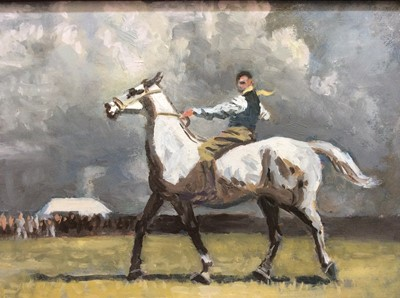 Lot 96 - Manner of Alfred J. Munnings oil on board- stable boy on a grey hunter with crowd beyond, in black frame, 14cm x 20cm