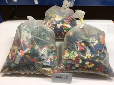 Lot 87 - Three bags of assorted mixed Lego bricks and accessories, weighing approx 15 Kg in total