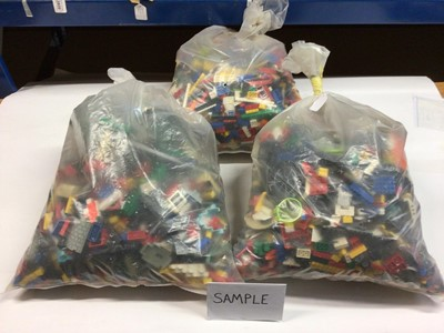 Lot 89 - Three bags of assorted mixed Lego bricks and accessories, weighing approx 15 Kg in total