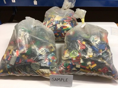 Lot 90 - Three bags of assorted mixed Lego bricks and accessories, weighing approx 15 Kg in total