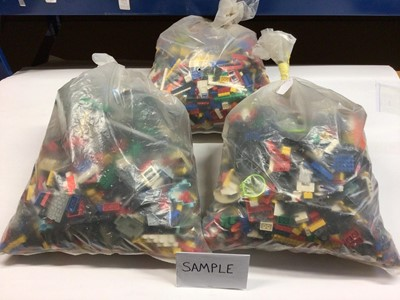 Lot 91 - Three bags of assorted mixed Lego bricks and accessories, weighing approx 15 Kg in total
