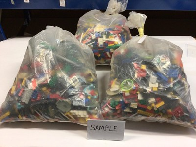 Lot 93 - Three bags of assorted mixed Lego bricks and accessories, weighing approx 15 Kg in total