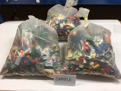 Lot 95 - Three bags of assorted mixed Lego bricks and accessories, weighing approx 15 Kg in total