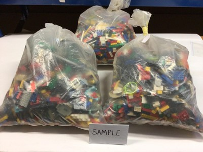 Lot 96 - Three bags of assorted mixed Lego bricks and accessories, weighing approx 15 Kg in total