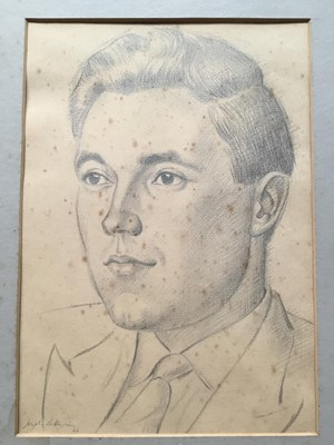 Lot 103 - Joseph Robinson (1910-1986) pencil drawing - portrait of a man, signed and dated '62, mounted, 28cm x 20cm