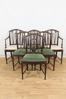 Lot 119 - Set of six Sheraton style mahogany dining chairs
