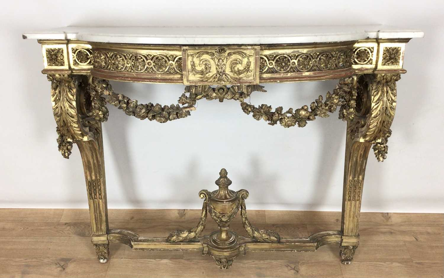 776 - 19th century marble topped carved gilt console table