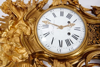 Lot 544 - Fine and monumental 19th century French gilt ormolu wall cartel clock and accompanying barometer by Etienne Lenoir, Paris