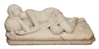 Lot 1475 - Giosue Argenti (1819-1901) - Fine 19th Century Italian carved carrera marble sculpture of a sleeping female nude, signed and dated 1869
