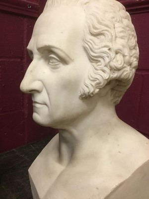 Lot 819 - Ralmondo Trentanove (1792-1832) Rare carved white marble bust of George Washington, signed and dated Rome,1827, height 53cm