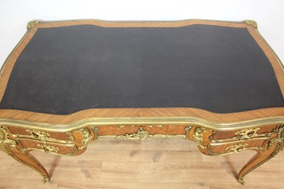 Lot 753 - Fine 19th century French bureau plat by Joseph Emmanuel Zwiener (1849-c.1900) with kingwood veneers and floral marquetry inlaid decoration with ormolu mount, stamped signature