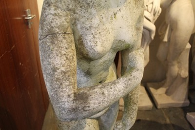 Lot 834 - 19th century carved white marble statue of Venus with dolphin