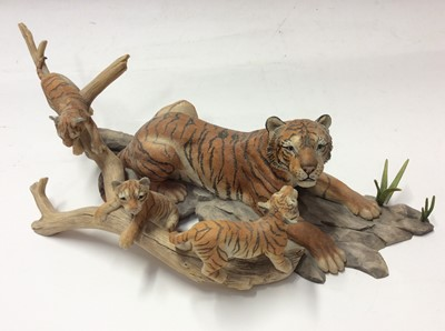 Lot 2 - Border Fine Arts limited edition model Bengal Tiger group, No. 328 of 750 by R T Roberts