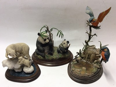 Lot 10 - Country Artists limited edition model Pandas, plus two other Country Arts models, Polar Bears and Kingfishers