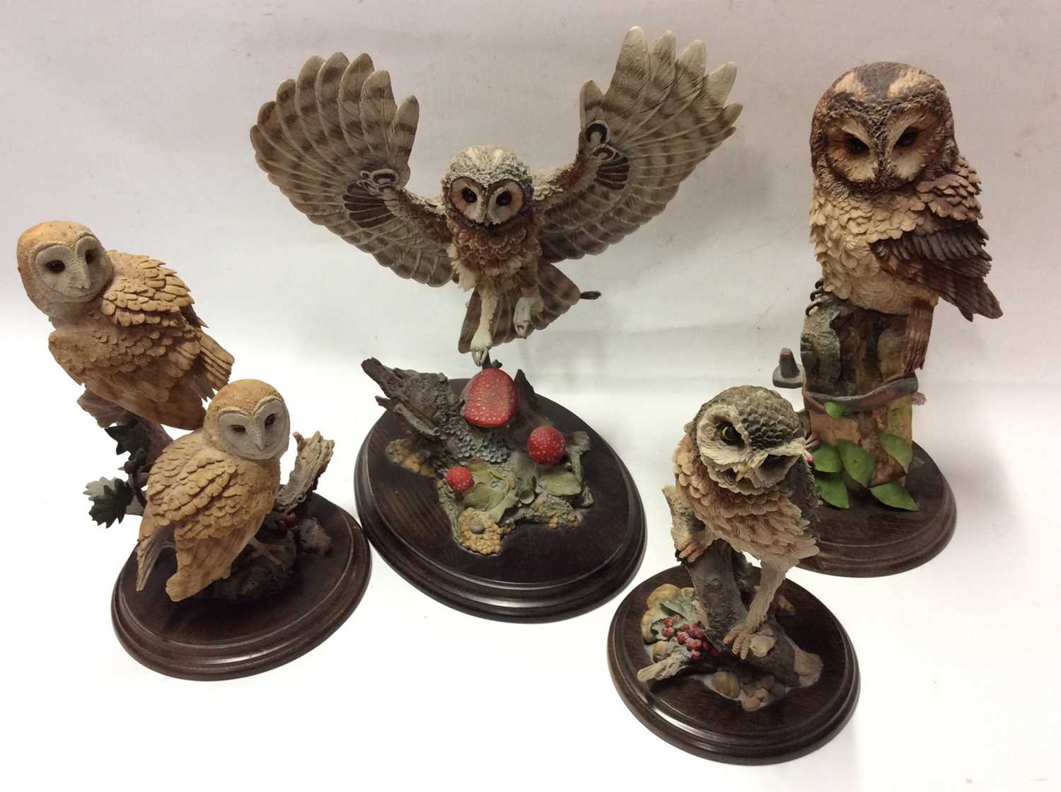 Lot 11 - Four Country Artists model owls, Dawn Raid, Tawny Owl with Honeysuckle, Barn Owl and Little Owl