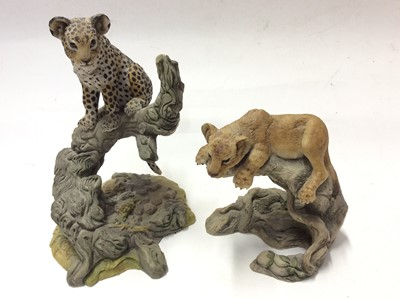 Lot 13 - Two Teviotdale limited edition models by D Eldman plus three other Teviotdale models Stag, Cheetah and Lion Cub