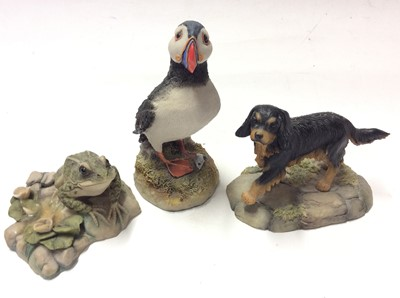 Lot 14 - Collection of Teviotdale models mostly by D Eldman including Owls, Kingfisher, Squirrel etc, plus other models including Aynsley  Scops Owl and Leonardo Meercats