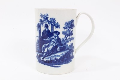Lot 1 - Worcester cylindrical mug, c.1770, printed in blue with 'La Peche'