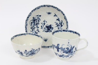 Lot 2 - Worcester blue and white feather moulded trio, c.1760