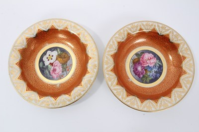 Lot 18 - Pair of Chamberlain's Worcester deep plates, c.1807-10