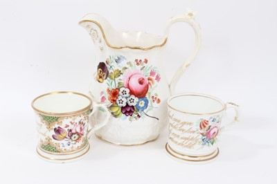 Lot 28 - Staffordshire flower painted jug, dated 1853, and two similar mugs