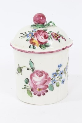 Lot 31 - Mennecy soft-paste porcelain pomade pot and cover, c.1760