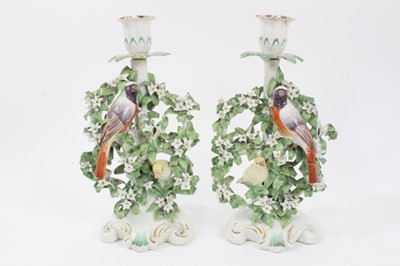 Lot 36 - Pair of Derby 'Birds in Branches' candlesticks, c.1770